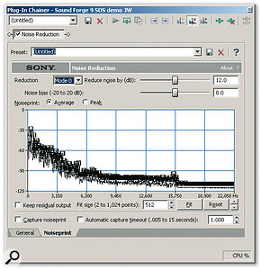 Sony's <em>Noise Reduction</em> suite — including the noise-print-based cleaning shown here — is now bundled with <em>Sound Forge 9</em>.