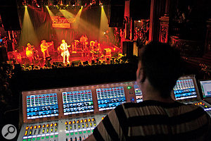 Where the PA system is set up some distance forward from the stage, it may help to delay its sound a few milliseconds in order to bring it into alignment with the backline. This is easily achieved on a digital console.
