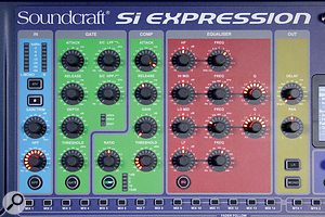 The channel strip section of the control surface provides easy access to the selected channel's most commonly used features, including EQ, dynamics and preamp controls.