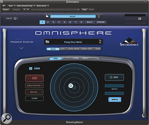 The Orb as it appears from within Omnisphere. Click the ball (or touch the surface with your finger if using Omni TR) and then spin it around the circle to generate timbral changes.