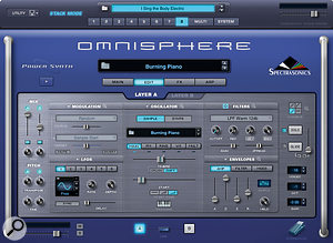 Omnisphere's edit page shows the top layer of synth controls.
