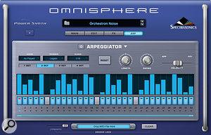 Omnisphere's 32–step arpeggiator recalls classic drum machine designs.