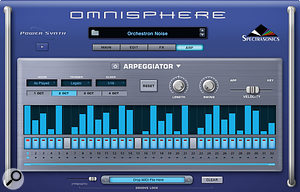 Omnisphere's 32–step arpeggiator recalls classic drum machine designs.