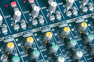 Many of Yamaha's compact mixers feature simple one-knob compressors.