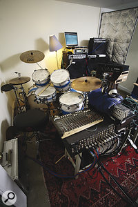 Drummer Alex Thomas's kit is temporarily resident in Jenkinson's live room.