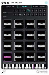 The PD Editor provides plenty of control over the MIDI notes assigned to each pad and the velocity response of the CMCPD unit.