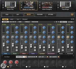 Amongst the extensive feature list, Groove Agent 4 includes comprehensive mixing options or each kit slot.