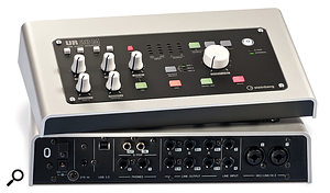 At the back of the UR28M aresockets for the 12V external power supply, aUSB 2 port, S/PDIF I/O, apair of headphone outputs, six quarter-inch line outputs, apair of quarter-inch line inputs, and apair of mic/line/instrument inputs on 'combi' sockets.