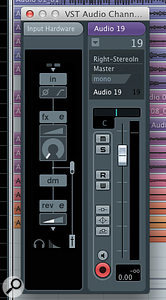 The Input Hardware panel in Cubase AI. The graphic on the left-hand side is used to control hardware parameters, including the foldback DSP effects.