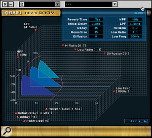 The REV-X DSP reverb effect that can also be added to the foldback mixes. The VST versions of these two processors share the same graphical user interface.