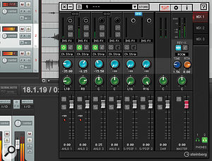 The intuitive dspMixFx software is used for controlling the UR28M in the absence of Cubase, and is shown here working with Reaper.