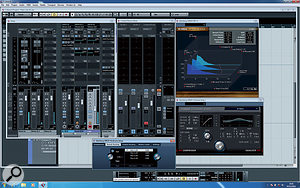 """Integration between the UR824 and Cubase: The input channels (left) show the Hardware view through which the DSP features are controlled. Two of the audio channels show the Studio Sends used to set up monitor mixes with the Control Room. The Control Room mixer is also visible, with two Studio buses. Normally, the signal would be metered here too, but with direct monitoring enabled, it's not. Finally, you can see the plug-in-like interfaces through which the Rev-X reverb and the """"sweet spot morphing channel strip"""" are edited."""