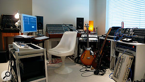Stuart Price's home studio is set up to favour happy accidents, with synths stacked against walls rather than neatly racked.