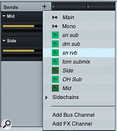 Click the   button at the top of the Sends section and choose the Add Bus Channel command.