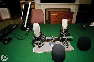 With the mics set up as they originally were, the voices that they were intended to pick up were arriving off axis, while the most sensitive parts of the microphones were pointing towards the reflective walls. This was contributing to an excessively 'roomy' sound.