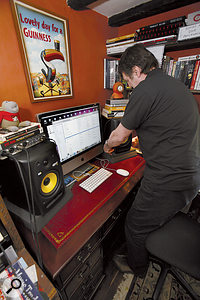 Some improvised decouplers placed under Jason's KRK speakers raised them from the desk such that the tweeters were at the right height.