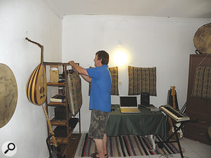 In the absence of proper acoustic treatment, pillows were hung against the wall to tame the worst of the room's reverb.