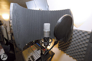 Paul Shepherd's vocal mic was initially set too far back into the Studiospares mic filter, so Hugh moved it level with the outer edges, to help ensure a less coloured sound.