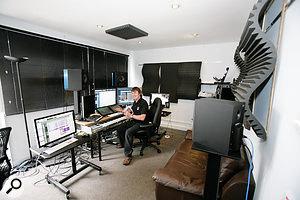 Hans' suite, after the improvements were made. In addition to treating the walls, the setup was pushed closer to the wall to avoid the central room node, thus providing a smoother bass response.