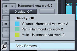 1. Envelopes are available by default on each Audio track for the basic mixer parameters of the corresponding Audio channel: volume, pan and mute.