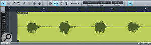 An Audio Event shown in the Audio editor. Other DAWs may refer to this as a'clip' or 'region'.