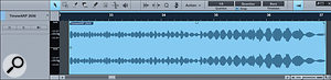 Studio One has a lot of pretty advanced 'undo' functions. For example, Restore Timing, which we can see here. The top screen shows the audio before processing; the next shows the audio once Quantise has been applied, with transients detected, Audio Bend markers placed and time-stretched audio in red; and the bottom screen shows the audio once Restore Timing has been applied: the Bend Markers remain, but the file has been returned to its original timing.