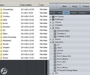 Using folders to organise and categorise VST plug-ins.