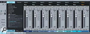 Here we can see three mix banks: One for drums, one for vocals and one showing all channels. Giving them related shortcuts speeds workflow when it is necessary to switch amongst several groups of tracks to make adjustments. Note the Mix Bank names at the bottom of the window.