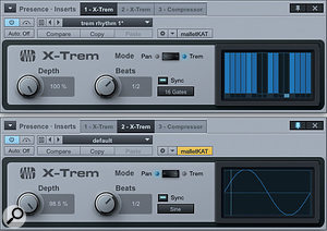 3: Asecond instance of X-Trem has been set to produce sine LFO panning.