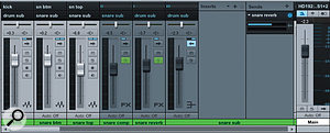 Both channels and the compressed signal are routed to asnare submix. An aux send from the submix feeds the snare reverb, the output of which is routed directly to the drum submix.