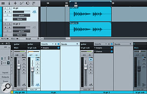 Here, aclean lead-guitar track has been duplicated and different amp emulations applied to each channel.
