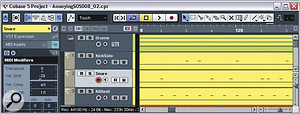 Splitting the kick and snare MIDI parts to separate tracks allowed these parts to be processed individually with Cubase's MIDI Modifiers plug‑in, making them more consistent in the mix.