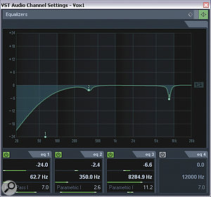 In place of the former preset lead‑vocal EQ, a more appropriate tonal treatment in Barry's track turned out to involve a notch at around 8kHz (to tame a nasty microphone resonance) and a small dip at 350Hz, combined with some parallel distortion from the Bass Overdrive stomp‑box model in Line 6's Pod Farm.