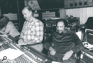 Another shot from the Thriller mixing session, showing Swedien at work with producer/arranger Quincy Jones (right) and Swedien's assistant Ed Cherney (left), who has since become an extremely successful producer in his own right.