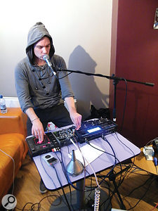 With low volume essential, drummer Pete Sampson switched to beatboxing for the show, using a TC-Helicon VoiceLive 2 and Korg KAOSS Pad to effect and sample his voice respectively.