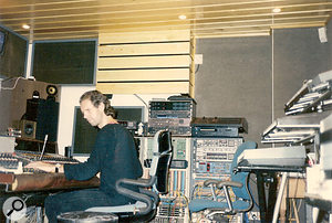 Dave Stewart (left) and Barbara Gaskin working at Spaceward Studios in the early '80s.