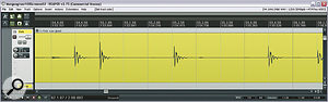 Here's the waveform from alive drummer's kick‑drum mic. Even though the part was recorded to aclick track, you can see that it naturally (and desirably!) deviates alittle from the metric grid.