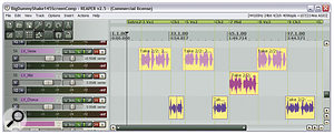 Any important instrumental or vocal part in your mix may well require different mix treatment to cater for the balance demands of different sections of the musical arrangement. If so, then 'multing' the recording, by editing sections of it to separate tracks in your DAW (as shown here), is asimple way to manage the practicalities.