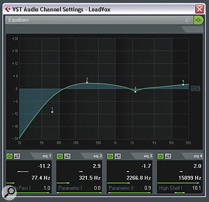 Although applying low midrange boost to alead vocal, as in this screenshot, can give it awarm and intimate character, the danger is that it can also make the rest of the backing track sound small, so any such boost needs to be handled with care.