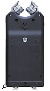 An audition speaker and tripod mount are located on the rear.