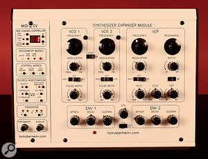 Aside from the MIDI-CV panel at the left, the SEM's front panel is very similar to the original's, the obvious difference being the addition of the band‑pass switch in the filter section.