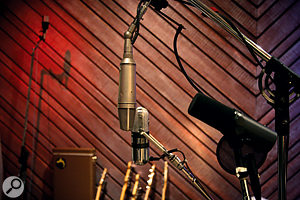 Though he's a fan of the unsung Shure SM57, Hoffer also makes use of more desirable vintage mics such as the Neumann U67 and RCA B77DX on display here.