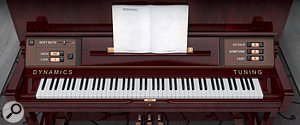 Both piano lids provide access to the Dynamics and Tuning controls.