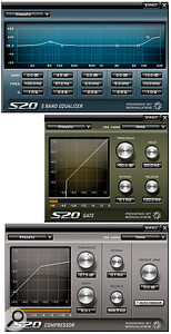SD 2.0 is supplied with five custom plug–ins including the Five–band EQ, Gate and Compressor shown here.