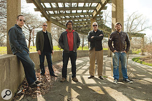 The current Tortoise line‑up. From left: John McEntire, Dan Bitney, Jeff Parker, Doug McCombs and John Herndon.