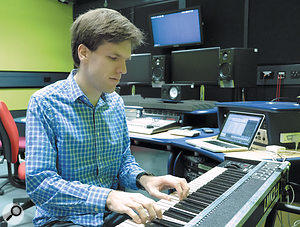 Dr Andrew McPherson playing a Doepfer keyboard fitted with MkIV TouchKeys.