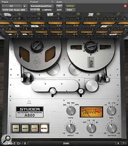 The UAD Studer plug‑in comes complete with virtual spinning reels. You can choose to monitor either the input signal or from the sync or repro heads.