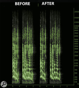 This spectrogram shows the same dialogue file before (left) and after (right) processing with Unveil.