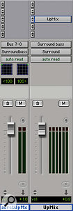 Upmix cannot be used on a conventional stereo channel; instead, it must be placed on a surround track or auxiliary.