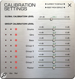 VCC can be calibrated globally and on a per‑group basis to compensate for variations in recording levels.